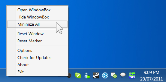 Minimize all windows neatly to tray
